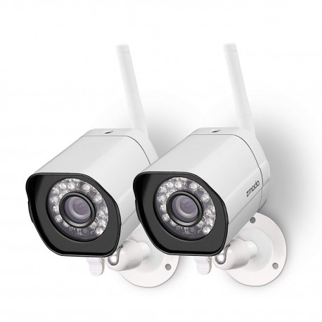 Zmodo Wireless Security Camera System (2 Pack) Smart Home HD Indoor Outdoor WiFi IP Cameras with Night Vision