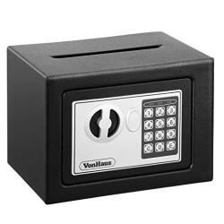 VonHaus Mini Compact Electronic Digital Home and Personal Security Solid Steel Safe with Keypad Lock, Cash Drop and Envelope Pos