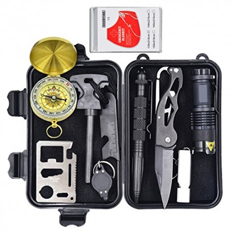 Eachway Professional 10 in 1 Emergency Survival Gear Kit Outdoor Survival Tool with Fire Starter Whistle Survival Knife Flashlig
